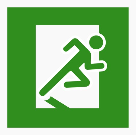 green exit emergency sign: Emergency exit sign