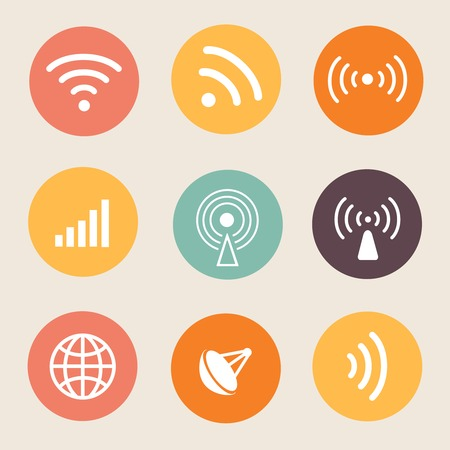 Wireless icon illustration on circle. Radio technology Vector