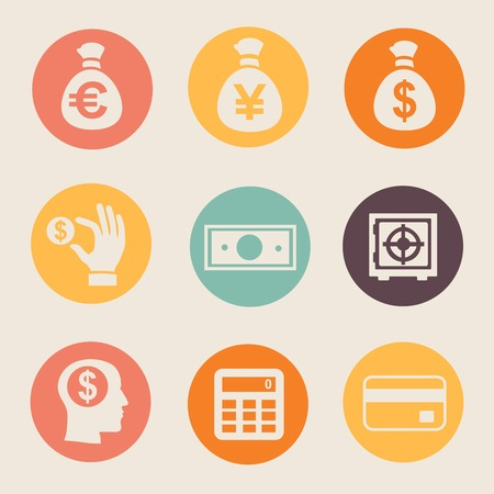 Money and coin icon set   illustration on white flat Vector