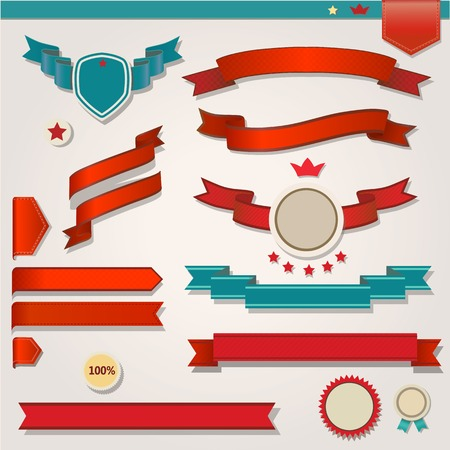 red flag up: Red Ribbons Set, Isolated On White Background, Vector Illustration