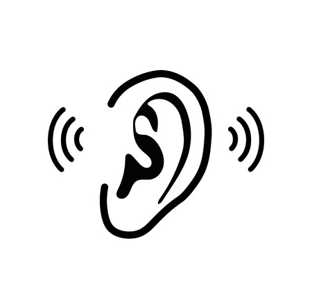 listen to music: The human ear - vector illustration