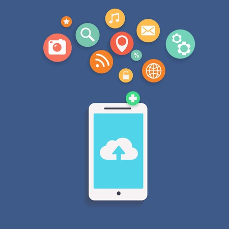 storage device: Vector illustration showing the use of cloud computing  storage and applications on a mobile phone with a set of colorful icons on web buttons above a mobile device Illustration