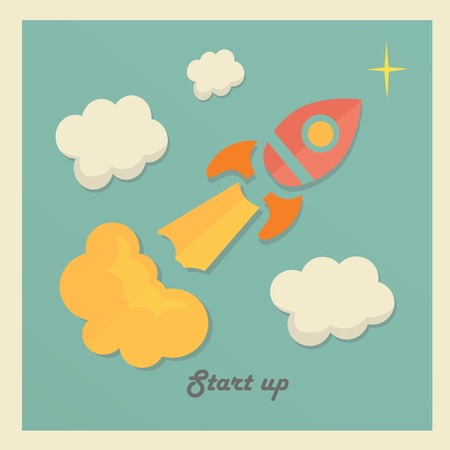Retro vector illustration concept with rocket for new business project startup, launching new product or service Vector