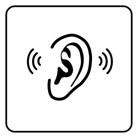 ear sign - vector silhouette on white Vector