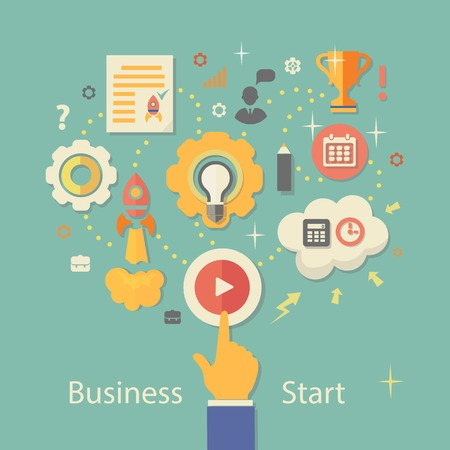 business concern: Business Startup Vector Illustration.  Technologies,  Gears infographics with people and icons