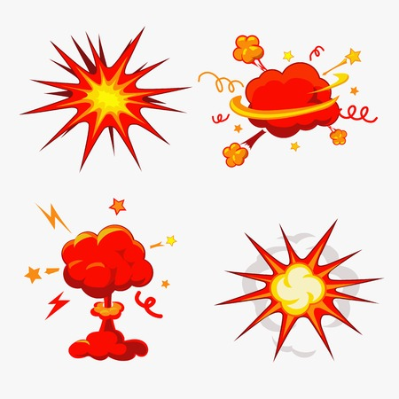 nuclear weapons: Comic Book Explosion, Bombs And Blast Set Illustration of a set of comic book explosion, blast and other cartoon fire bomb, bang and exploding symbols Illustration