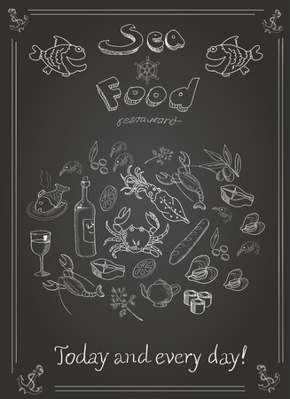 flounder: Set of hand drawn seafood on blackboard