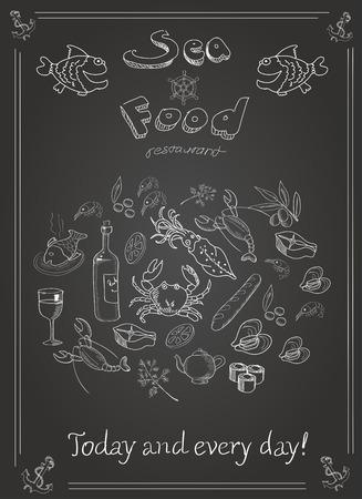 flounder: Set of hand drawn seafood on blackboard