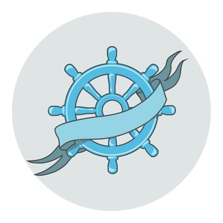 ship wheel: Ship Wheel Banner whith ribbon Nautical illustration