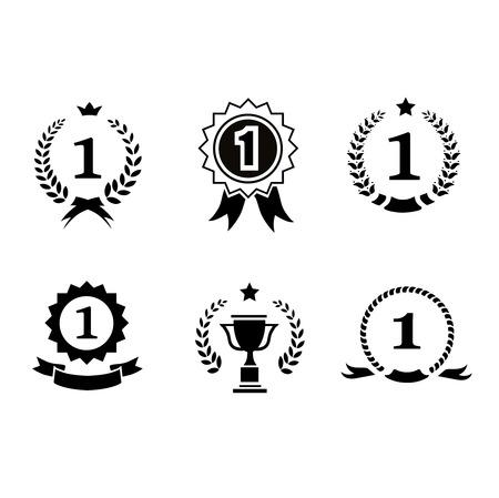 enclosing: Set di emblemi circolari in bianco e nero vincitore vettoriali e icone leader con corone di alloro e rosette nastro che racchiudono il numero 1 un trofeo premio e la corona Vettoriali