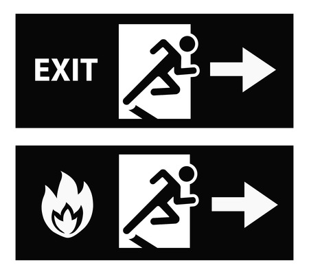 green exit emergency sign: Emergency fire exit door and exit door vector Illustration