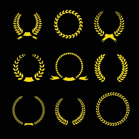 Laurel Wreaths Vector Collection and circular frames for awards heraldry antiquity victory champion Vector