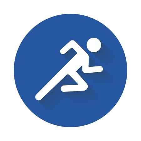 Hombre corriente icono silueta blanca en azul? Ilustración de vector