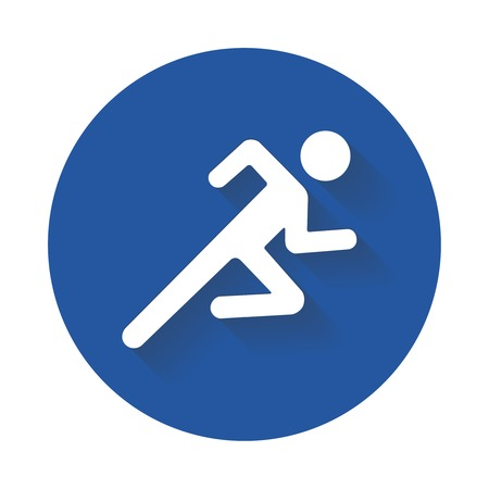 Running man icon white silhouette on blue ?