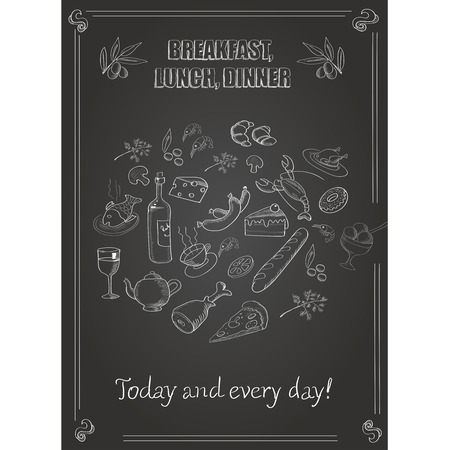 vintage breakfast, lunch and dinner  poster  with food on a chalkboard photo