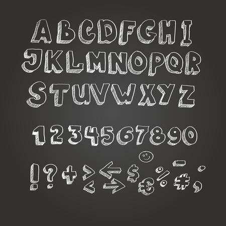 blackboard: Chalk on blackboard style alphabet, white letters Stock Photo