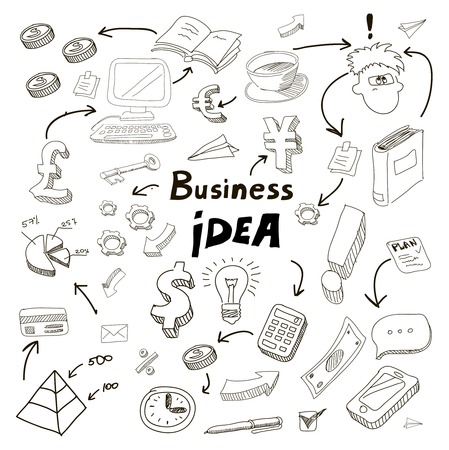 Business Idea doodles icons set.  illustration on white. illustration