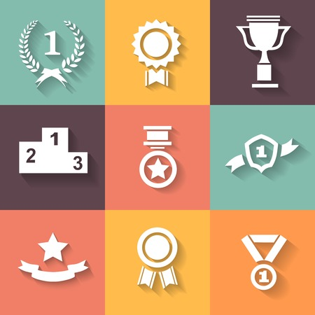 Set of white vector award  success and victory icons with trophies  stars  cups  ribbons  rosettes  medals medallions  wreath Illustration
