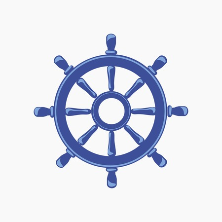 Ship Wheel Banner isolated on white background. Vector Illustration  イラスト・ベクター素材