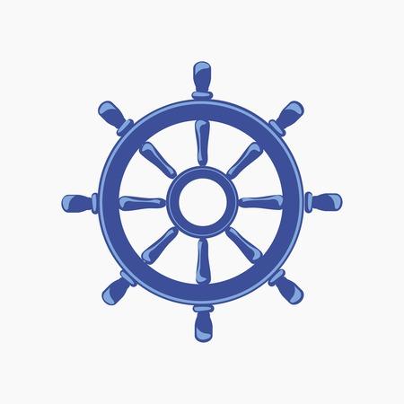 helm boat: Banner Rueda de la nave aislada en el fondo blanco. Ilustración vectorial
