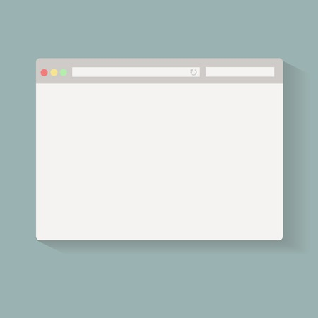 Simple Browser window on blue background. Vector.