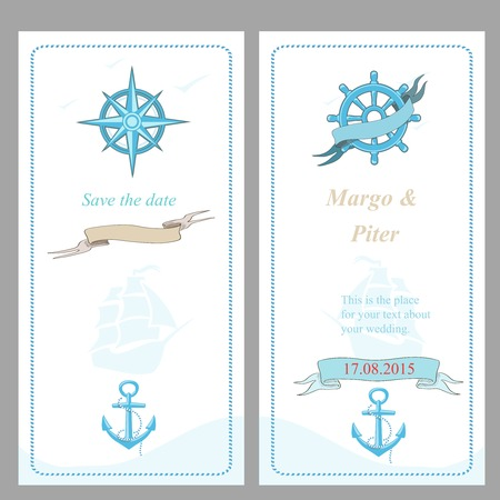 Wedding invitation and save the date  template, nautical style, Vector