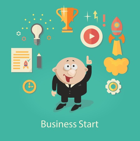 command structure: Business Startup  Illustration.  infographics with businessman,Gears and hand