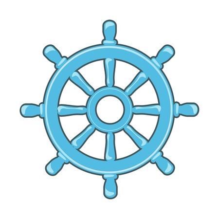 Rudder icon or Ship Wheel isolated on white photo