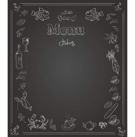 flounder: Hand drawn seafood  Menu design on  blackboard