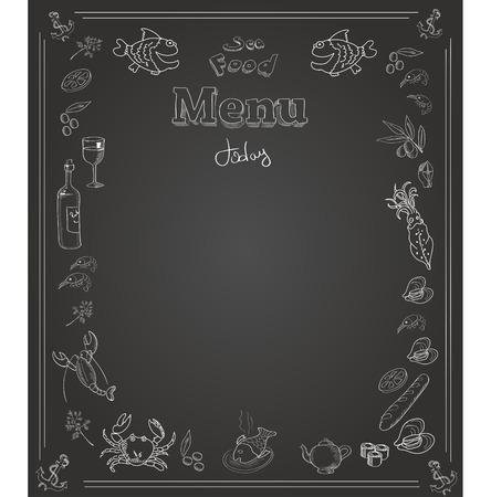 flounder: Hand drawn seafood  Menu design on  blackboard
