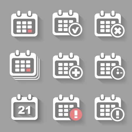 Vector Calendar Icons - event add delete progress. White silhouettes shadow Vector