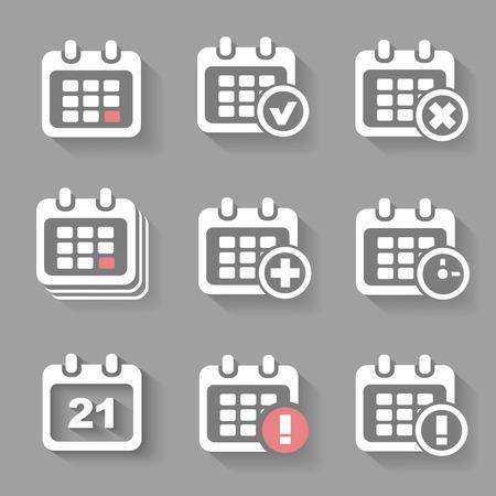 annual event: Vector Calendar Icons - event add delete progress. White silhouettes shadow Illustration