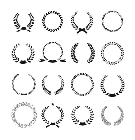 Set of black and white silhouette circular laurel  foliate and wheat wreaths depicting an award  achievement  heraldry  nobility and the classics  Illustration