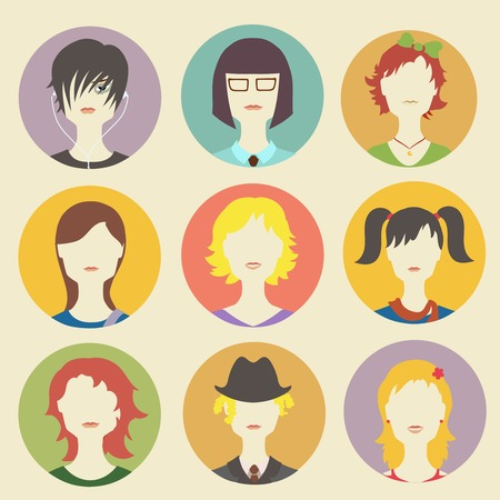 caricature woman: collection of women avatars in flat style Illustration