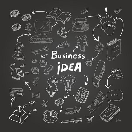 Business doodles, chalk on blackboard.  Vector