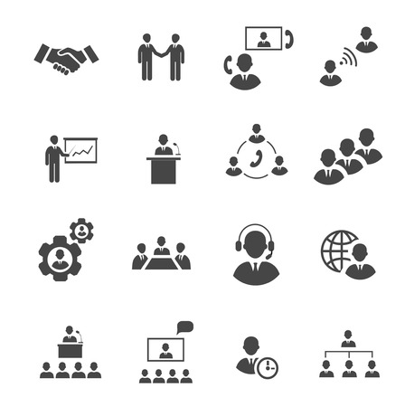 Business people online meeting strategic pictograms set of presentation online conference and teamwork isolated vector illustration Vector