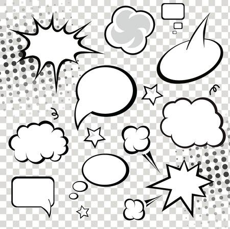 Comic tekstballonnen en stripverhaal op monochrome halftoon achtergrond vector illustratie
