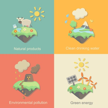 deforestation: Ecology Concept Vector Icons Set for Environment, Green Energy and Nature Pollution Designs. Nuclear Power Plant and Deforestation. Flat Style. Illustration