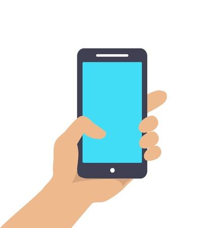 holding smart phone: Hand holding Smart phone showing screen isolated on white background Illustration