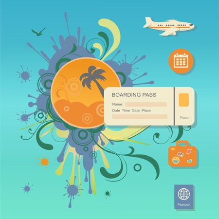 illustration journey: Flat design style modern vector illustration concept of planning a summer vacation, travelling on holiday journey, tourism and travel objects, passenger luggage on stylish color background