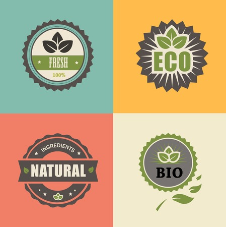 BIO stamp ECO, ORGANIC Labels Collection. Natural product sign set. photo