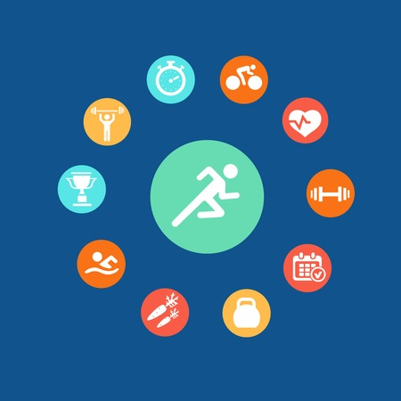 Set health and fitness circular icons and infographics  in flat style Illustration