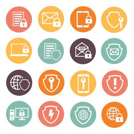 Geschäftsdatenschutztechnologie und Cloud-Netzwerksicherheit Icons Set Vektor-Illustration. weiße Silhouette Standard-Bild - 32940097
