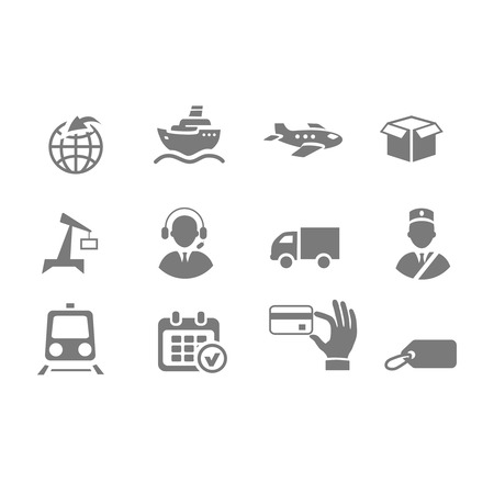 Logistics icons isolated black on white background Vector