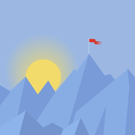 Flat design modern vector illustration concept with  flag on the mountain peak, meaning overcoming difficulties, goal achievement, winning strategy with focus on results. Vector
