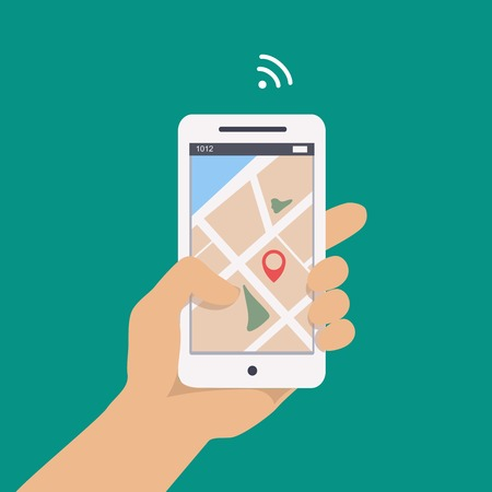 Vector illustration concept of man  holding smartphone in hand with gps navigation. Vector