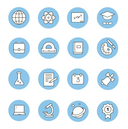 Education and learning flat thin line icons set, modern vector collection of high school objects and college items, teaching symbols and educational equipment. Vector