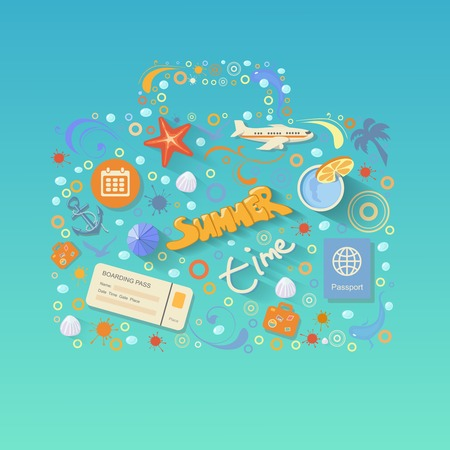 flying boat: Flat design style modern vector illustration  concept of traveling on airplane, planning a summer vacation, tourism and journey objects and passenger luggage. Isolated on stylish background.