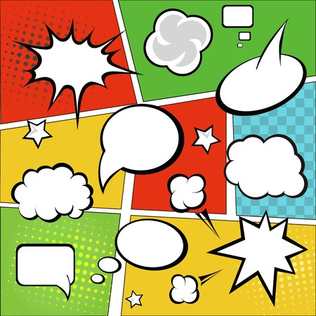 comic strip: Comic strip  and comic speech  bubbles on colorful halftone background vector illustration Illustration
