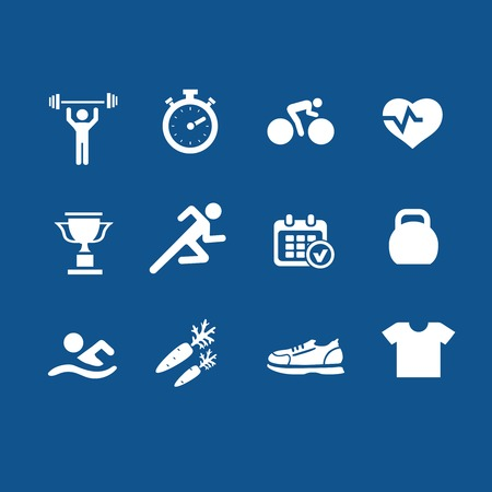 weight control: Set health and fitness  icons white isolated
